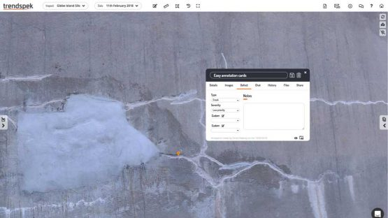 Easily annotate defects of your asset with Trendspek Drone Data
